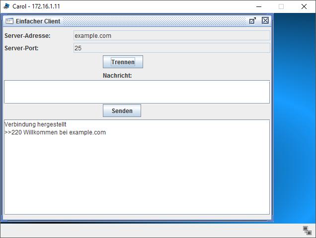 Gestartete SMTP Verbindung im einfachen Client von Filius