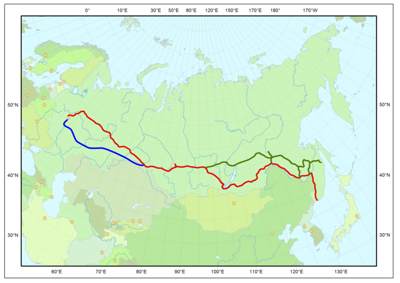 Karte Transsibirische Eisenbahn