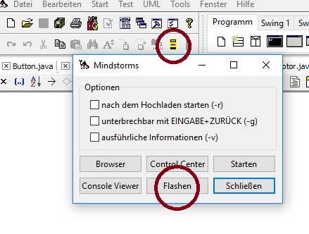 Screenshot: Java-Editor mit Mindstorms-Schaltfläche zum Flashen