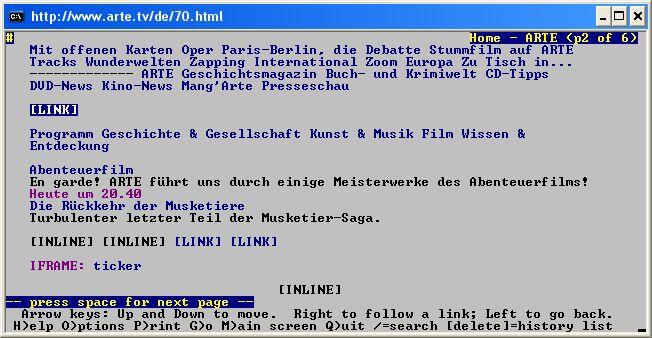 Screenshot der Startseite von Arte mit lynx