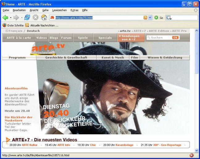 Screenshot der Startseite von Arte