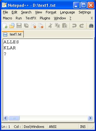 Screenshot mit Text