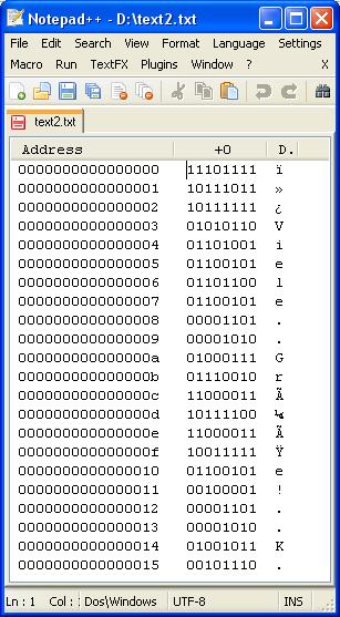 Binärdarstellung zum Text im utf8-Format