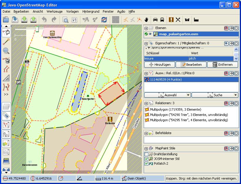 Karte: OSM Palastgarten