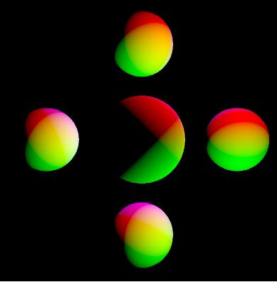 Drei farbige Lichtquellen beleuchten die Kugeln