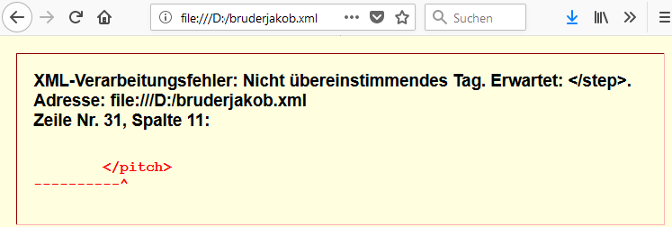 Fehlermeldung des Browsers