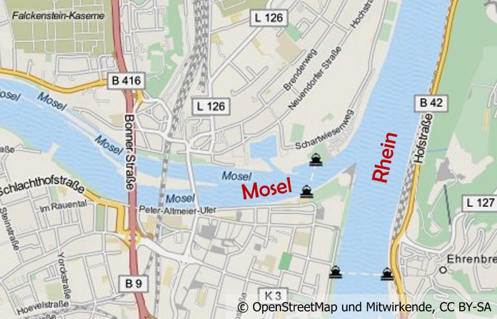 Karte von Koblenz mit der Mündung der Mosel in den Rhein