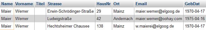 Ergebnistabelle bei der Suche nach Herrn Maier. Gezeigt werden drei Datensätze, zwei davon in Mainz.