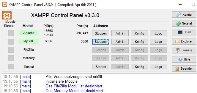 Screenshot Xampp-Control Programm