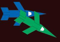 Zwei Raumschiffe (grün und blau)